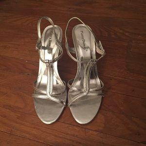 Pierre Dumas Silver T-Strap Sandals